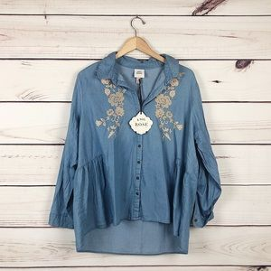 NEW Knox Rose denim embroidered shirt blue 2XL